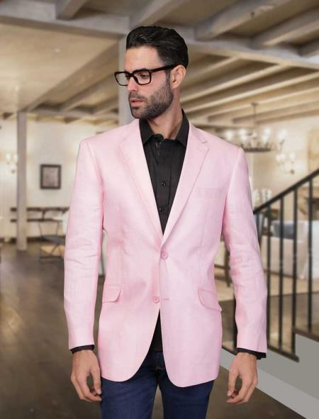 Mens Pink Summer Linen Light Weight Blazer, act now only $175.00