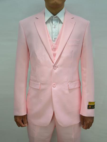Mens Pink Two Button Style Alberto Nardoni Suit, act now only $199.00