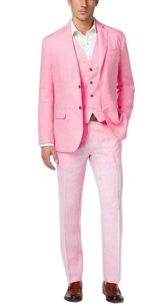 Mens Pink Two Button Style Italian Fabric Suit, act now only $225.00