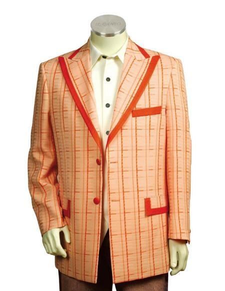 Mens Pink Two Button Style Trimmed Two Tone Blazer (CHECK COLOR), act now only $174.00