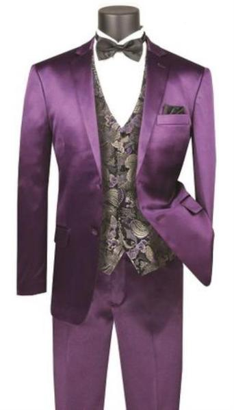 Mens Purple Two Button Style Slim Fit Suit, act now only $149.00