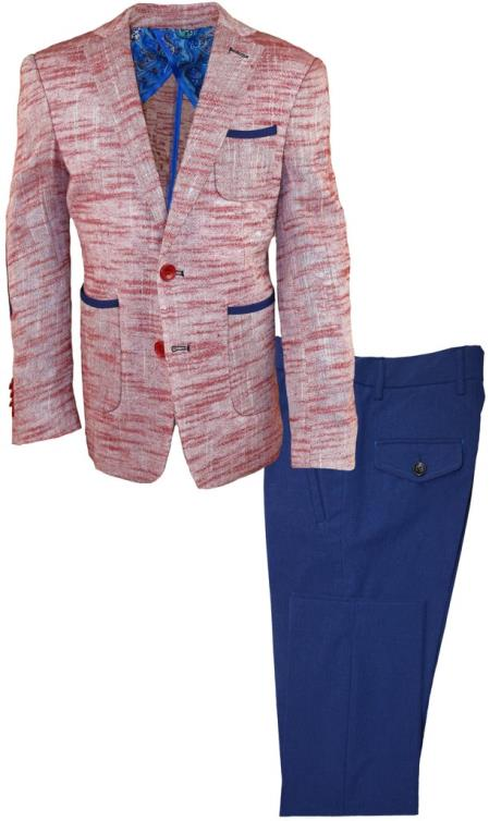 Mens Red Notch Lapel Single Chest Pocket Linen Suit, act now only $120.00