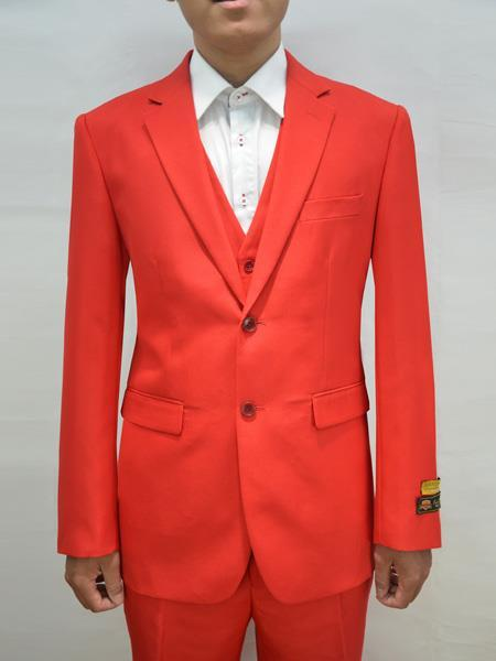 Mens Red Two Button Style Alberto Nardoni Suit, act now only $199.00