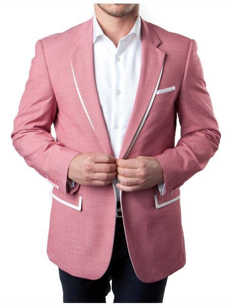 Mens Rose Pink One Button Style White Trim Suit, act now only $160.00