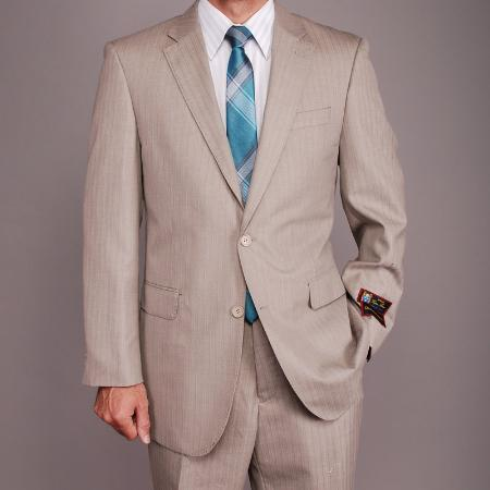 Mens Sand Herringbone Two Button Style Suit, act now only $149.00