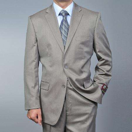 Mens Sand Twill-pattern 2-button Khaki Suit, act now only $135.00