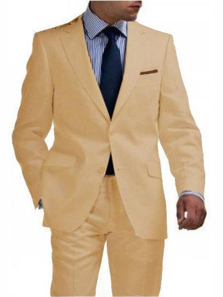 Mens Sand Two Button Style Light Weight Suit, act now only $250.00