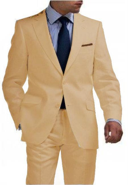 Mens Sand Two Button Style Tapered Cut Half Lined Flat Front Linen Suit, act now only $180.00