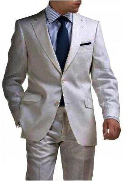 Mens Silver 2 Button Style Tapered Cut Half Lined Flat Front Linen Suit, act now only $180.00