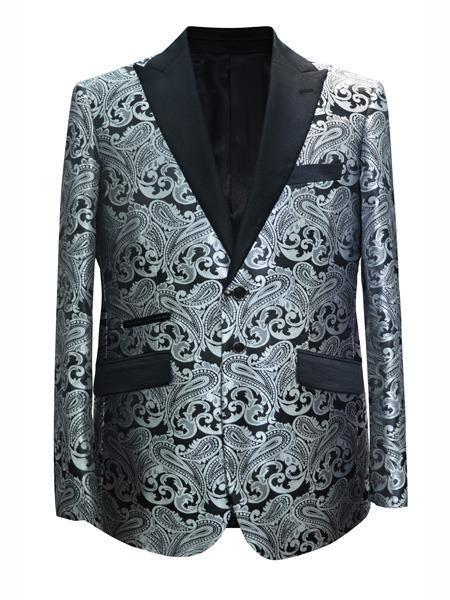 Mens Silver Gray White and Black Two Button Style Suit, act now only $175.00