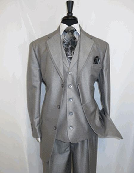 Mens Silver Grey Single Breasted Two Button Suit, act now only $149.00