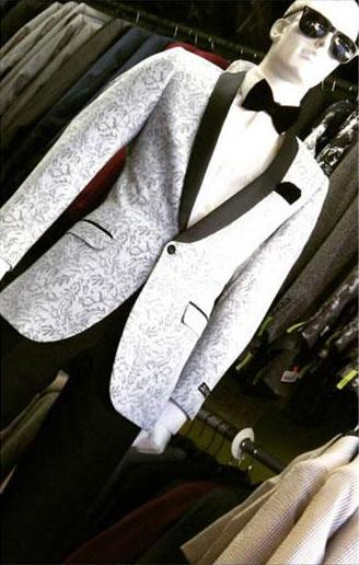 Mens Shawl Lapel Dinner Slim Fit Silver Light Grey Suit, act now only $170.00