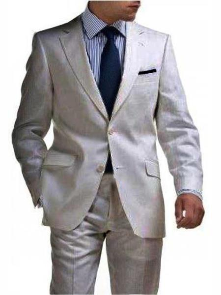 Mens Silver Two Button Style Light Weight Suit, act now only $175.00