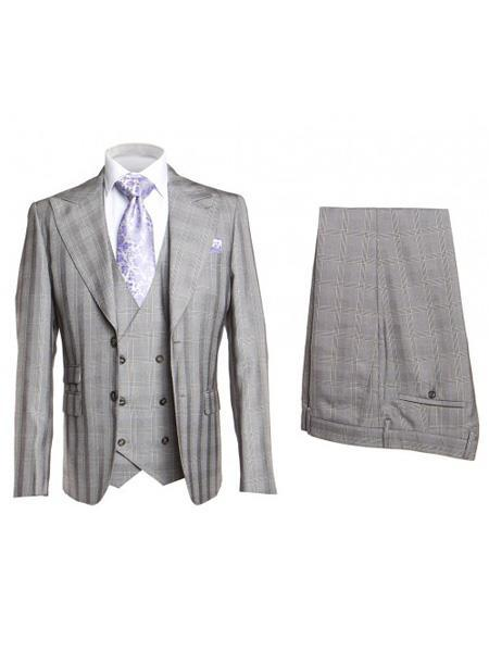 Mens Silver Two Button STyle Single Breasted Suit, act now only $175.00
