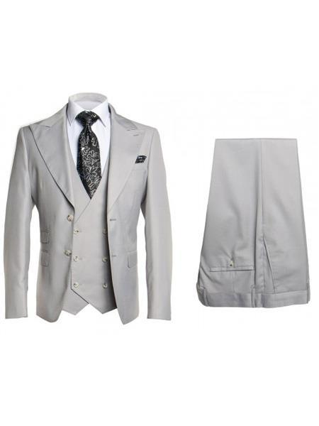 Mens Silver Two Button Style Three Piece Suit, act now only $175.00