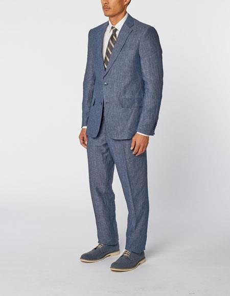 Mens Single Breasted Notch Lapel 100% Linen Double Vent Two Piece Blue Suit, act now only $299.00