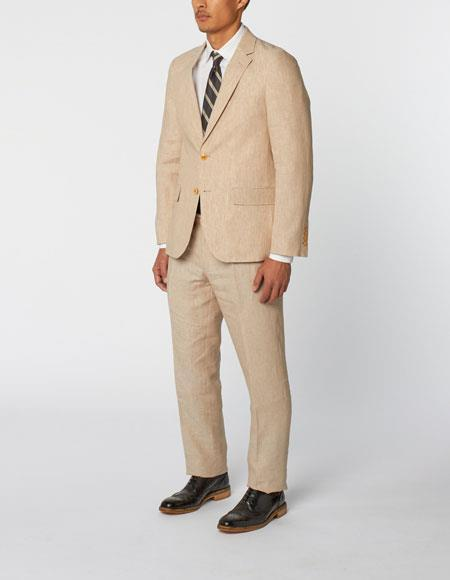 Mens Single Breasted Notch Lapel 100% Linen Double Vent Two Piece Natural Suit, act now only $299.00