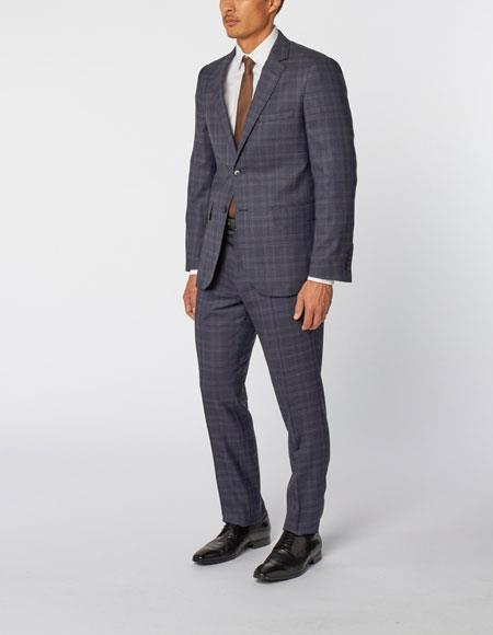 Mens Single Breasted Notch Lapel Classic Wool Double Vent Two Piece Blue Plaid Suit, act now only $299.00