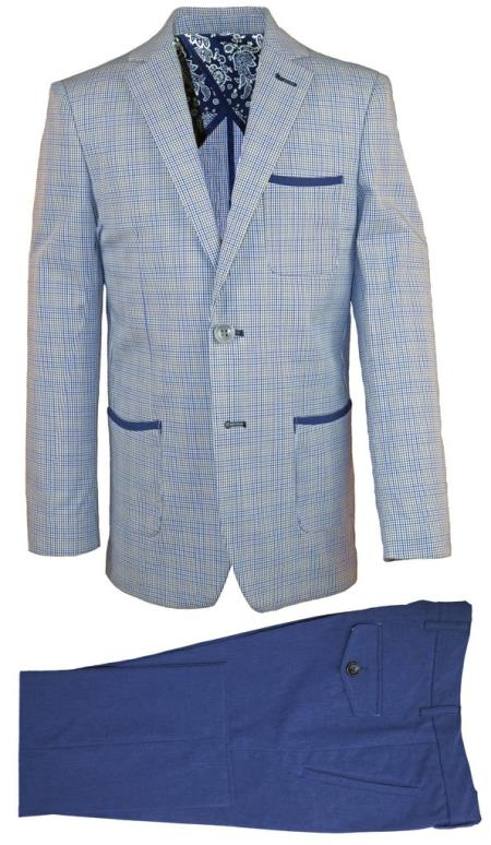 Mens Single Breasted Notch Lapel Navy Linen Tonal Suit, act now only $120.00
