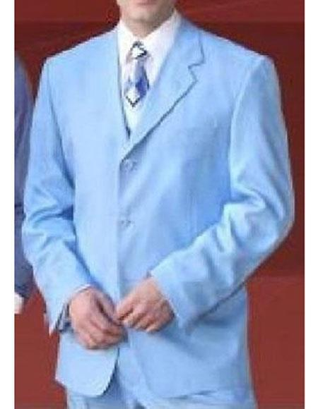 Sky Blue Mens Three Button Style Notch Lapel Suit, act now only $110.00