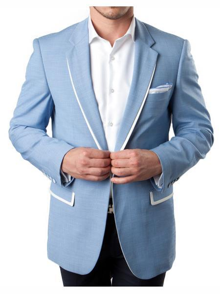 Mens Sky Blue Two Button Style White Trim Accents Tuxedo, act now only $160.00