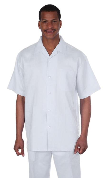 Mens Snow White Short Sleeve Shirt and Pant Fabric Linen Suit, act now only $65.00