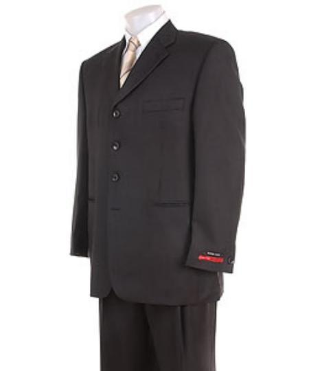 Mens Solid Black Four Buttons Super Pleated premier quality Suit, act now only $149.00