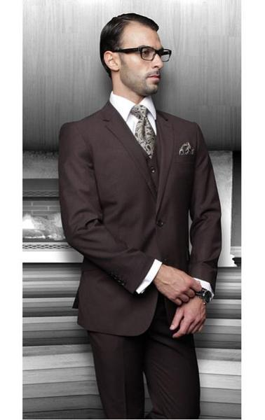 Mens Solid brown color shade 3 Piece Suits for Online, act now only $175.00