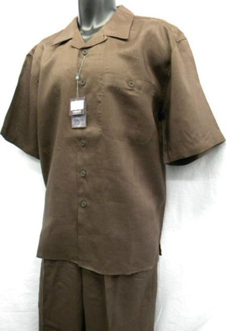 Mens Solid Brown Online Trendy Casual Two Piece Short Sleeve Suit, act now only $76.00