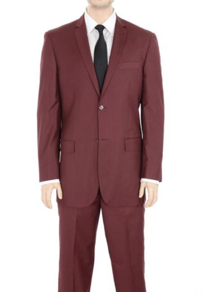 Mens Solid Burgundy Slim narrow Style Fit No Pleated Slacks pants, act now only $125.00