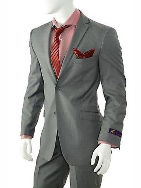 Mens Solid Grey Two Button Style Slim Fit Suit, act now only $199.00