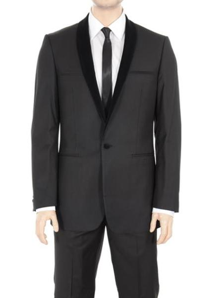 Mens Solid Liquid Jet Black Shawl Lapel One Button Suit Tuxedo, act now only $175.00