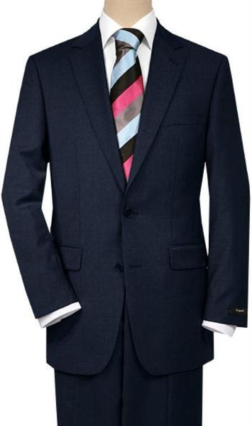 Mens Solid Navy Blue Shade Two Button Quality Suit, act now only $189.00