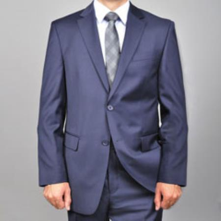 Mens Solid Navy Blue Shade Wool Fabric Suit, act now only $250.00