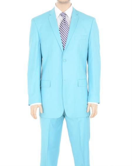 Mens Solid Sky Blue Two Button Suit, act now only $175.00