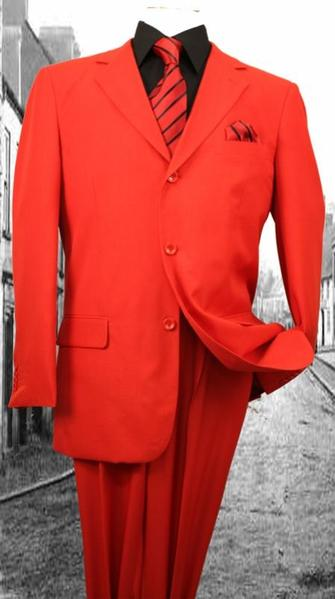 Mens Super Red Solid Color Two Piece Single Breasted Suit, act now only $75.00