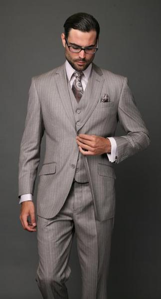 Mens Superior Fabric Beige Pinstripe three piece suit, act now only $189.00