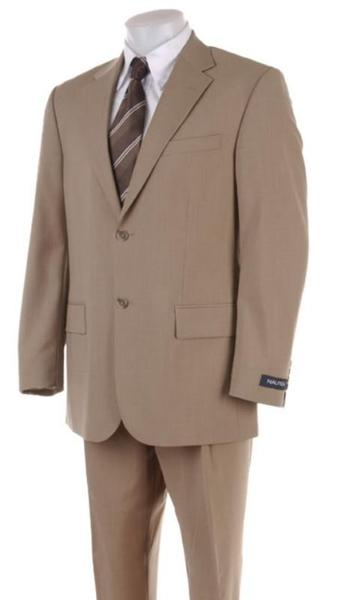 Mens Tan Khaki Two Button Style Suit, act now only $149.00