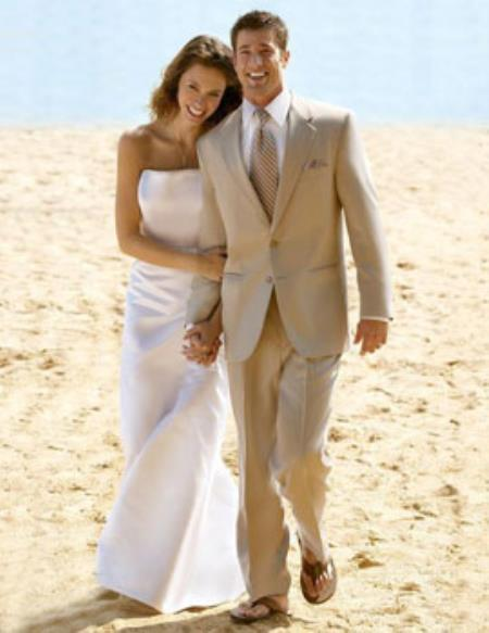Mens Tan khaki Two Button Style Wedding Linen Suit, act now only $149.00