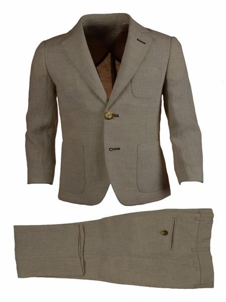 Mens Tan Single Breasted Notch Lapel Linen Elbow Patches Suit, act now only $120.00