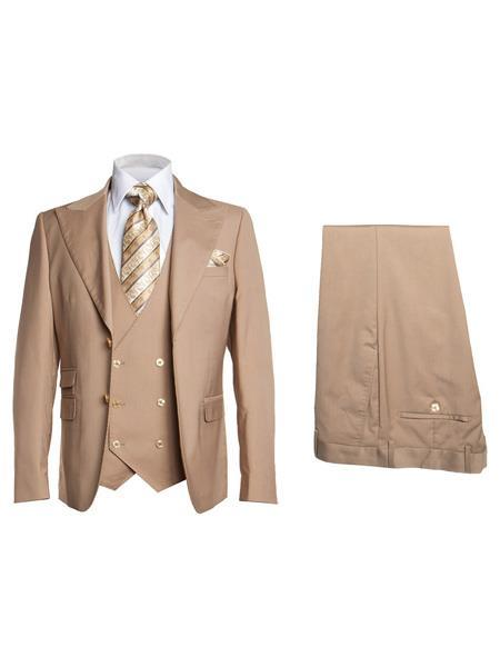 Mens Tan Single Breasted Two Button Style Suit, act now only $175.00