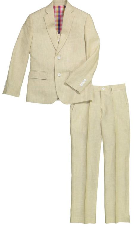 Mens Tan Single Chest Pocket Flap Lapel Linen Suit, act now only $120.00
