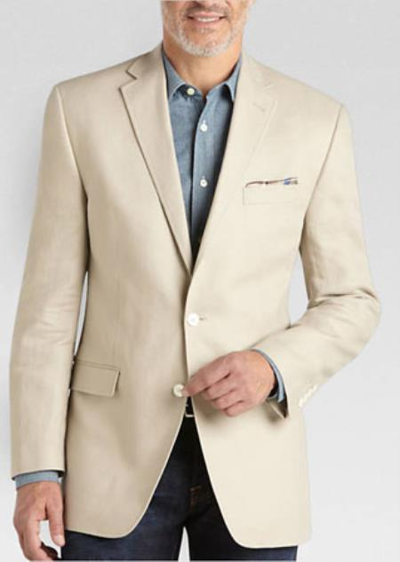 Mens Tan Summer Fabric Linen Classic Fit Natural Blazer, act now only $139.00