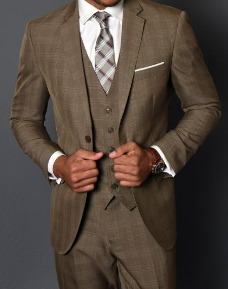Mens Tan Two Button Style Window Pane Suit, act now only $185.00