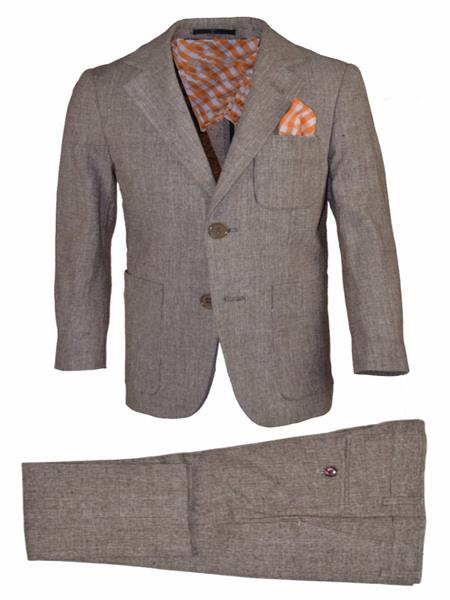 Mens Tan Two Piece Notch Lapel Linen Suit, act now only $120.00