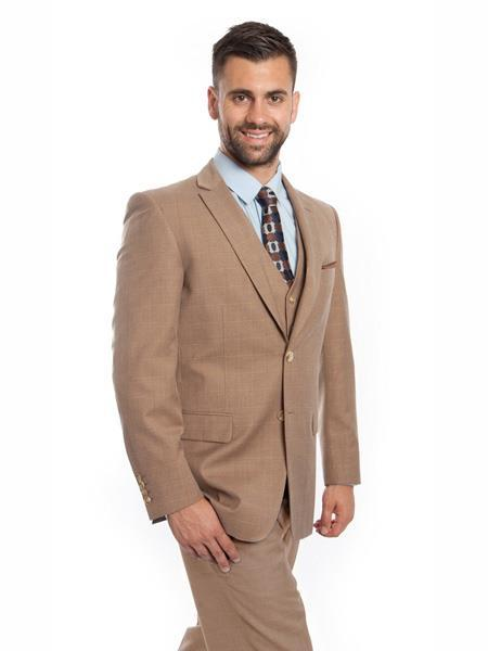 Mens Tan Windowpane Two Button Style Suit, act now only $175.00