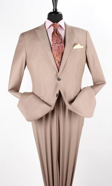 Mens Taupe Two Button Style Peak Lapel Suit, act now only $160.00