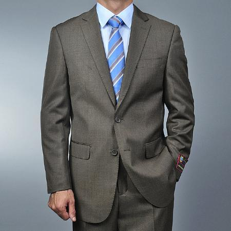 Mens Taupe Two Button Style Suit, act now only $139.00