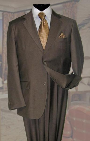 Mens Taupe Wool Fabric Two Button Style Suit, act now only $189.00