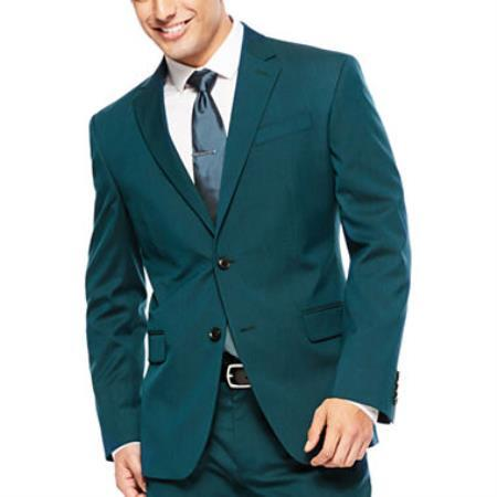 Mens Teal Blue Two Button Style Super Slim Fit Suit, act now only $110.00